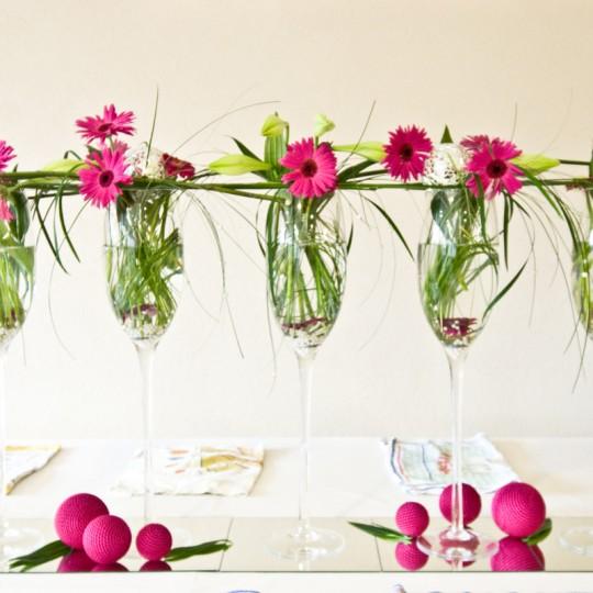 20 Tischdeko Gerbara pink