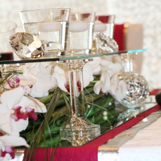 24 Tischdeko in pink orchideen
