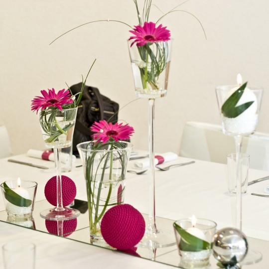 3 Tischdeko Gerbara pink