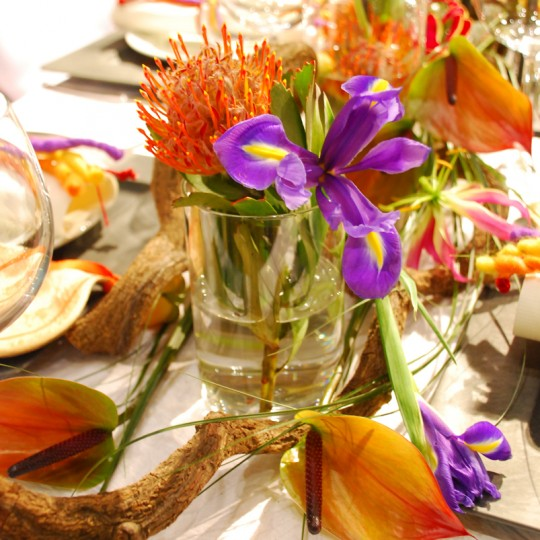 Tischdecke orange gelb lilla