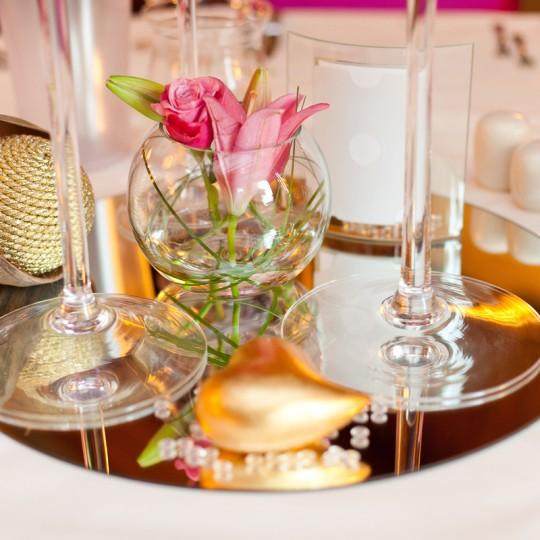 Tischdeko gold pink